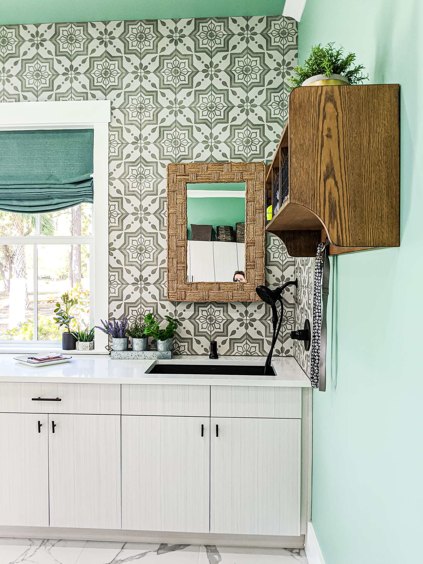 coastal mudroom teal walls cement pattern tile coastal design