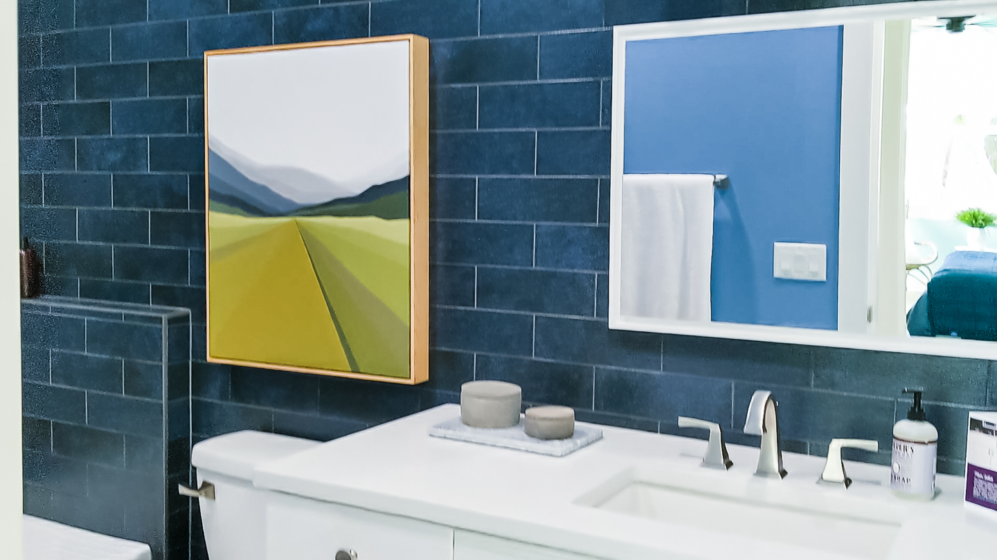 dark blue bathroom wall tile