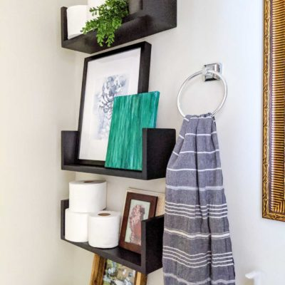 u shelves in powder room - easy to make