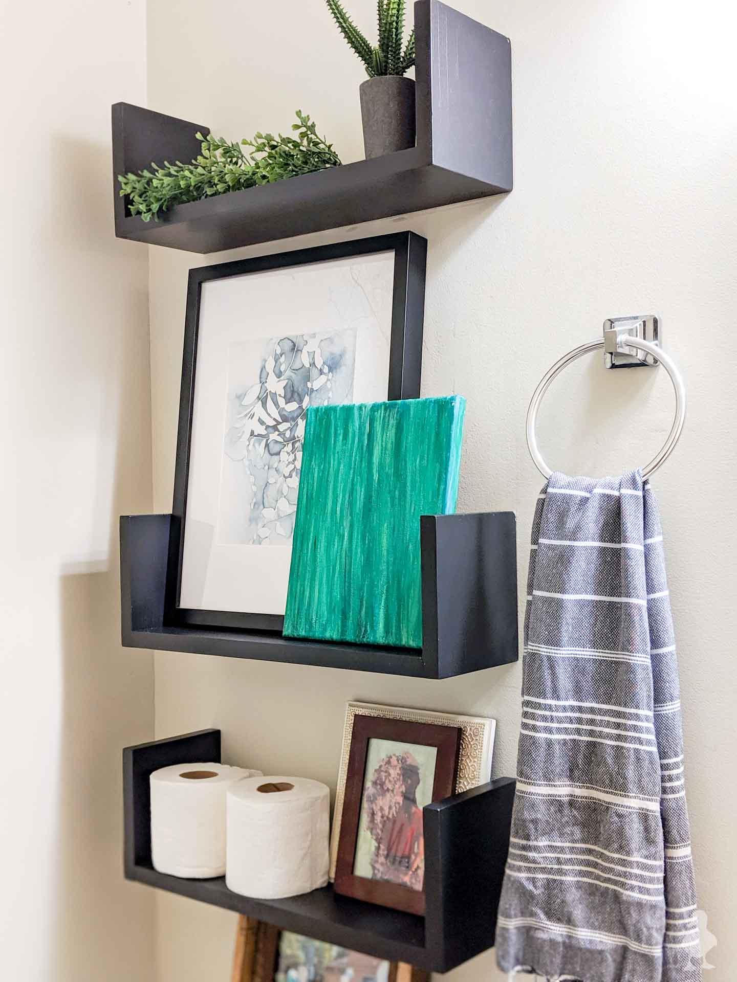 closeup of diy u shelves - bathroom wall shelves