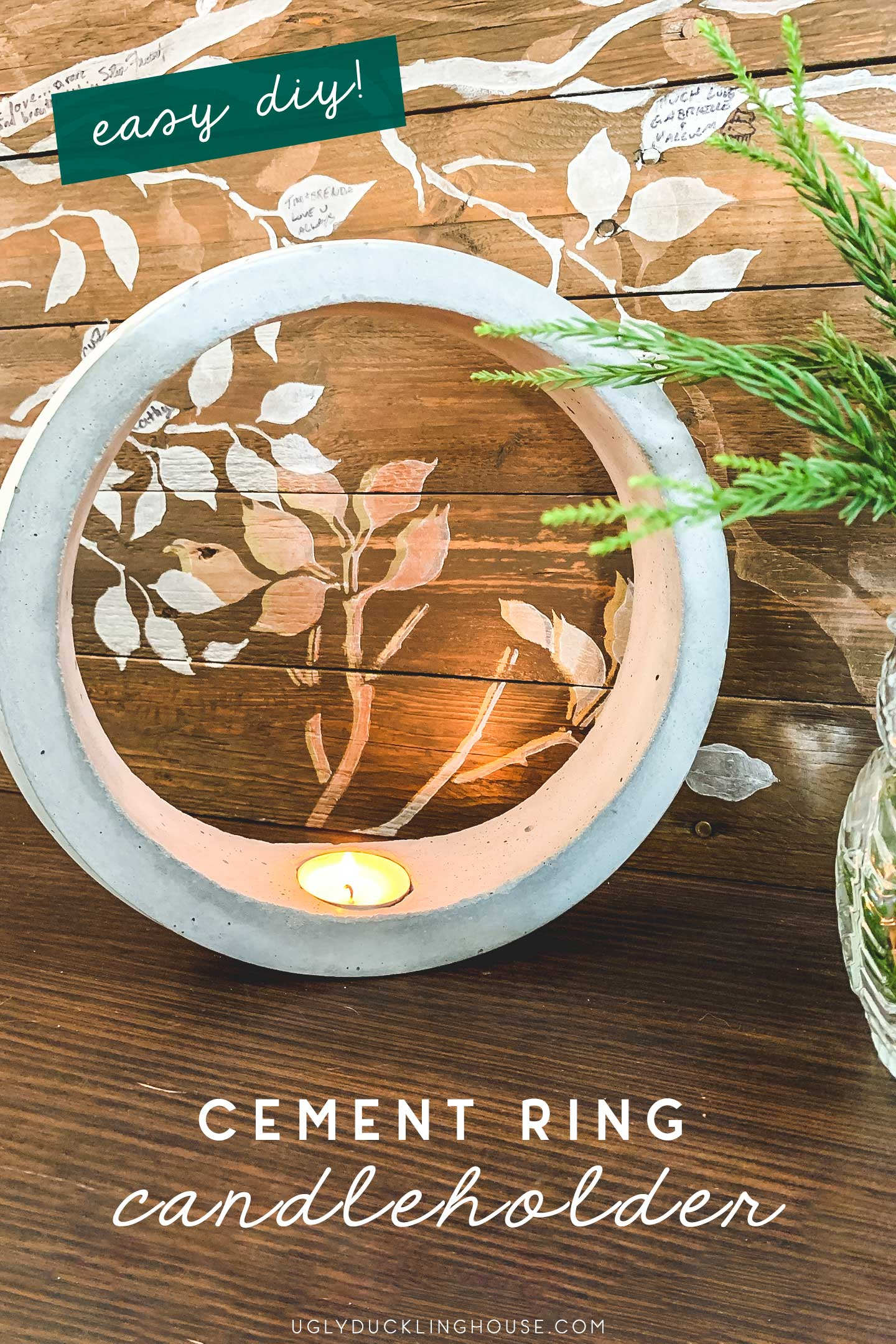 diy cement ring candleholder