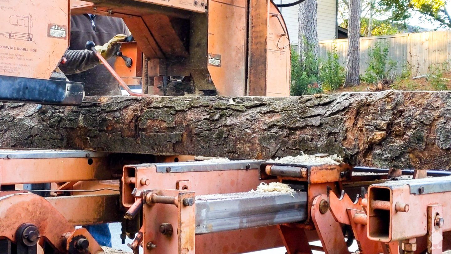 portable sawmill flipped over