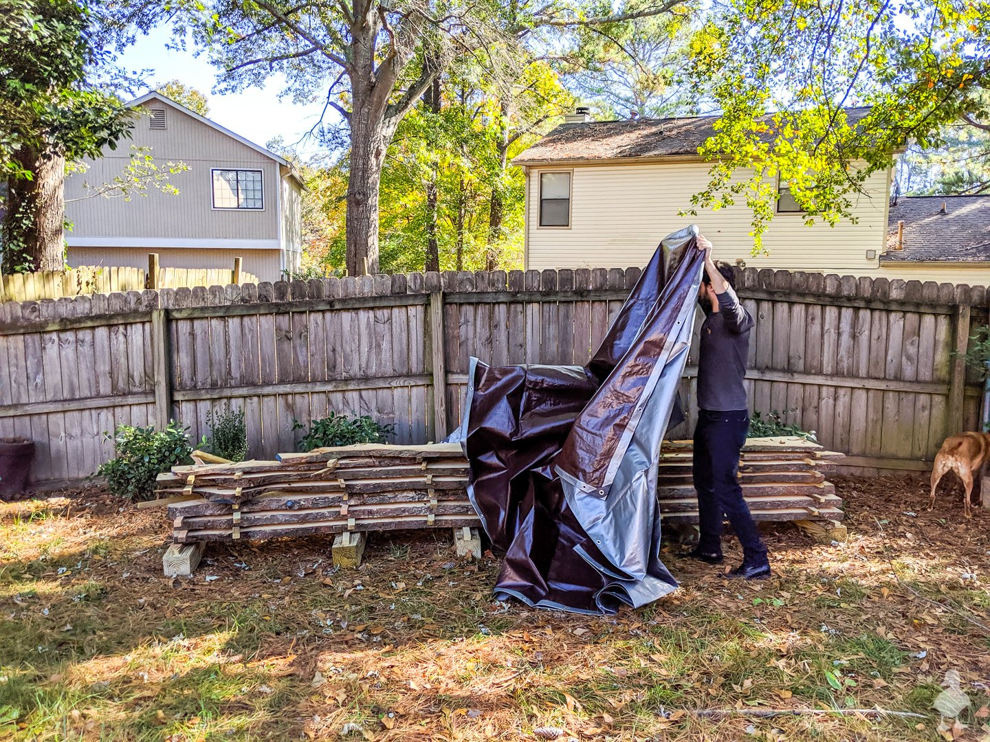 covering wood slabs with tarp on top