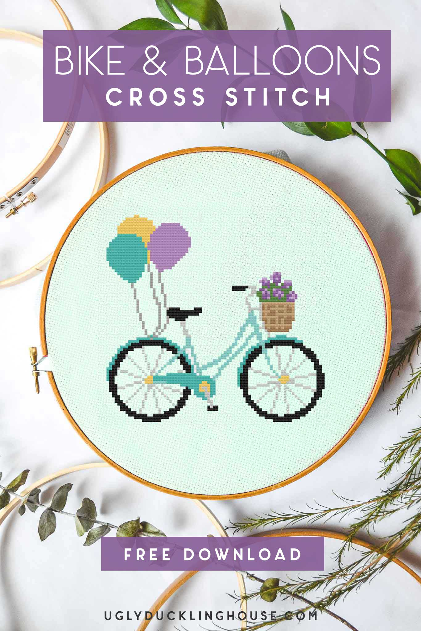 bike and balloons free cross stitch pattern