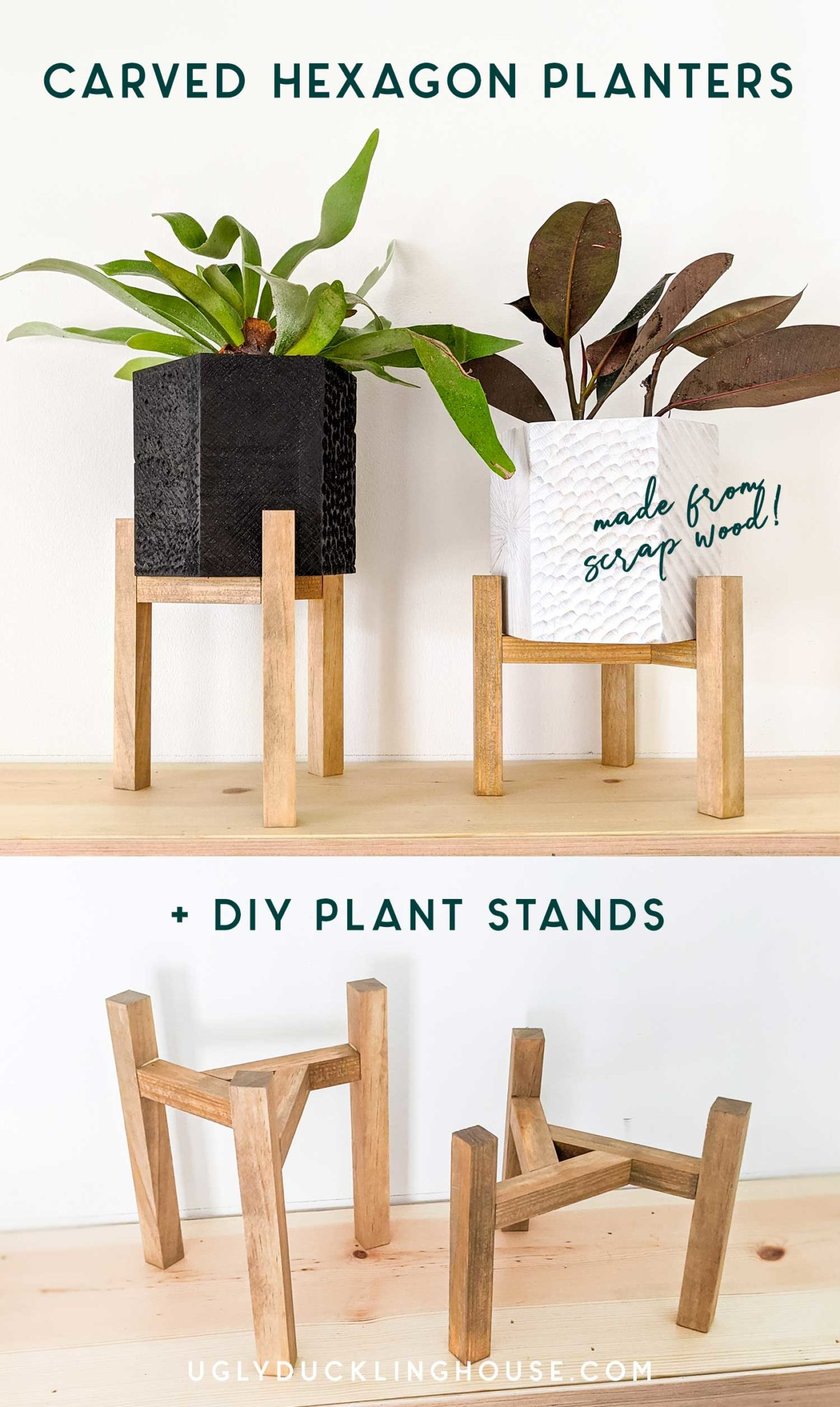 diy-carved-wood-hexagon-planters-and-triangular-plant-stands