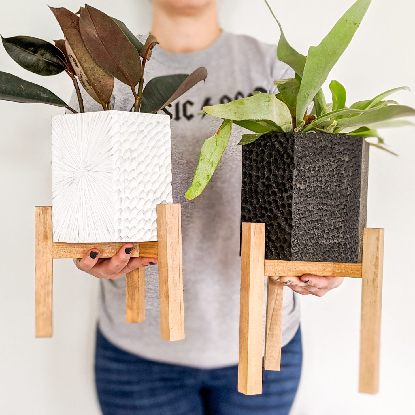 holding diy hex planters with plant stands