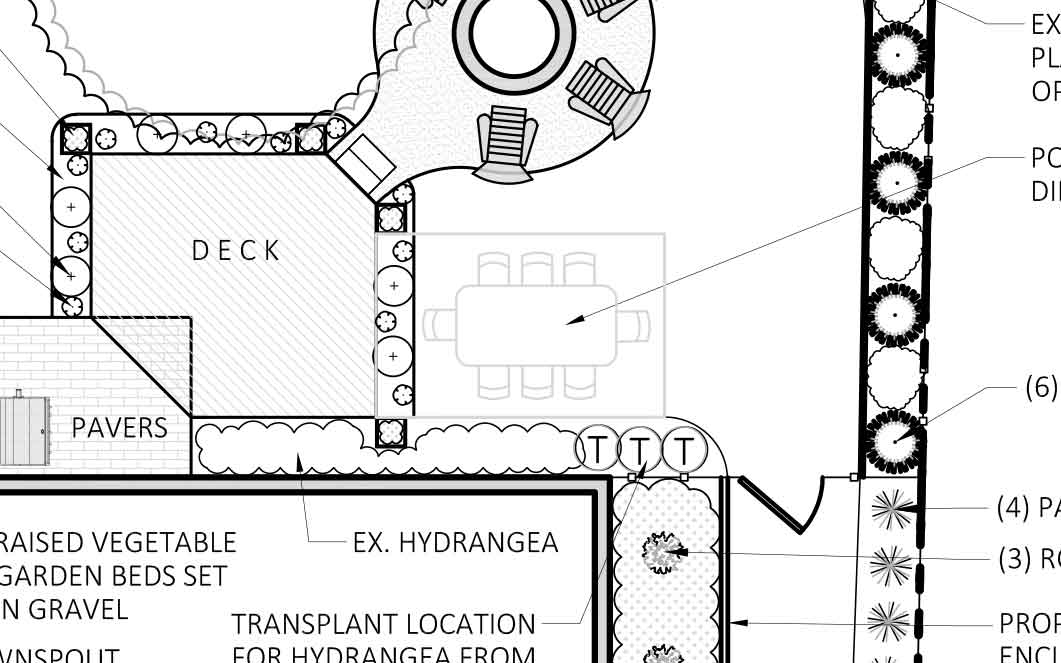 new dining area yard design plan