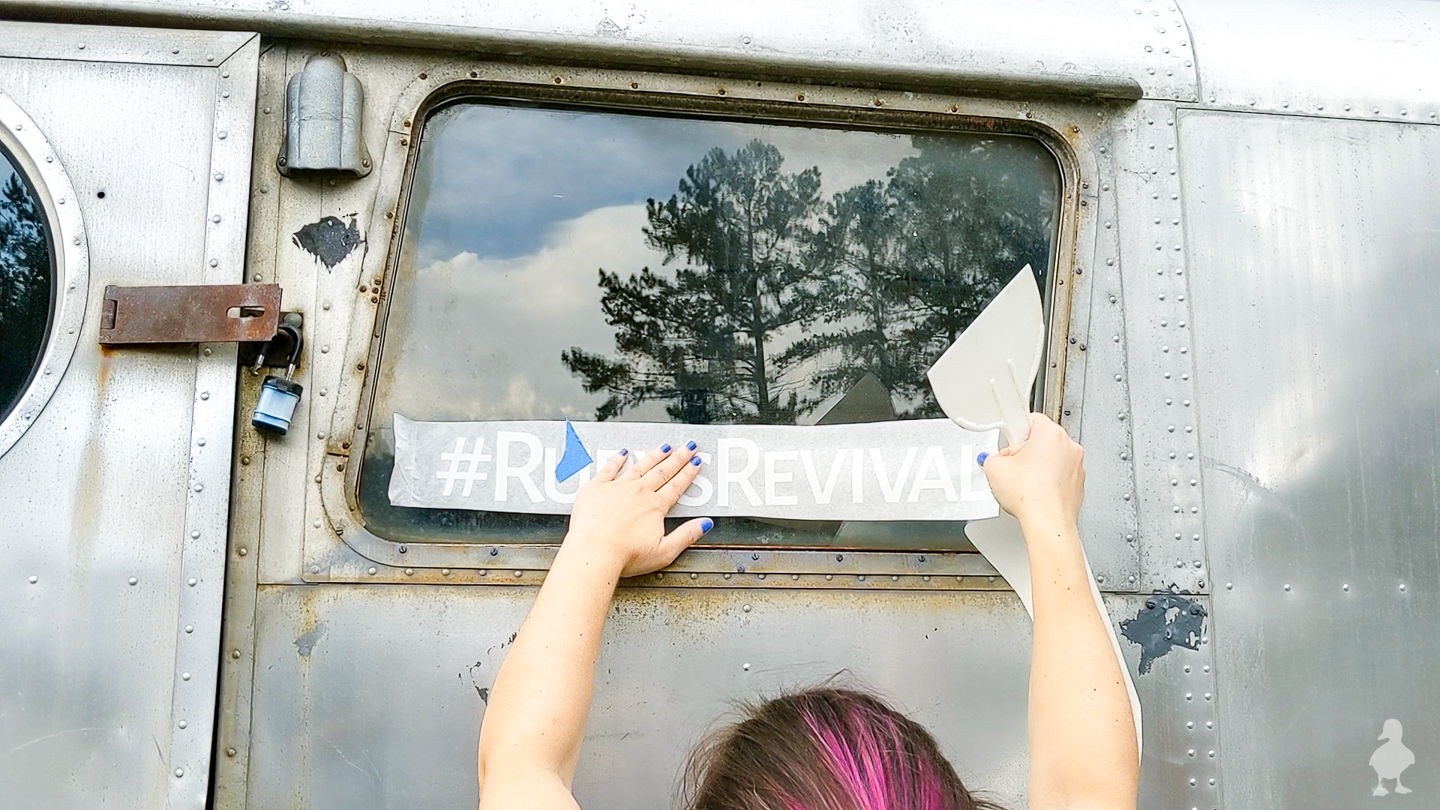 how to add window decals to vintage camper