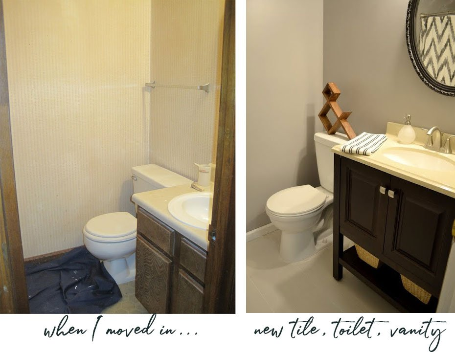 remodeling progress in guest bathroom