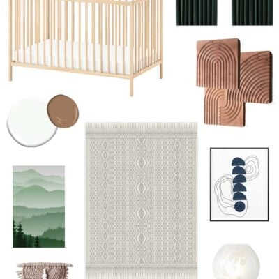 gender neutral nursery - using greens and lots of wood elements to create a neutral green navy and brown nursery with no cutesy theme