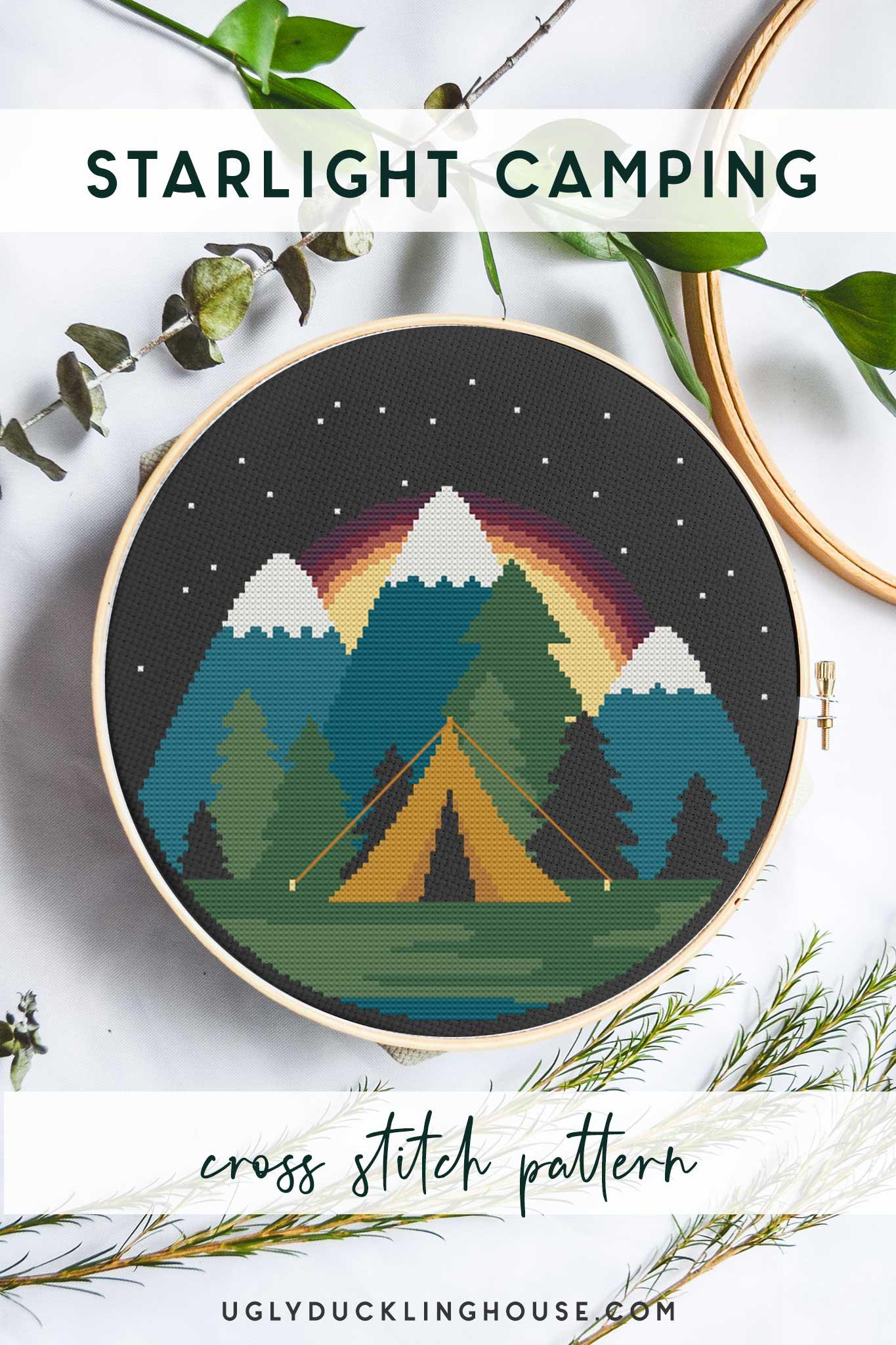 starlight camping cross stitch with dark background nighttime camping scene