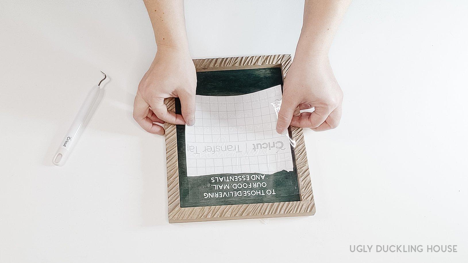 transferring vinyl letters to sign backer