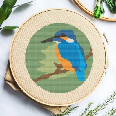 kingfisher bird cross stitch