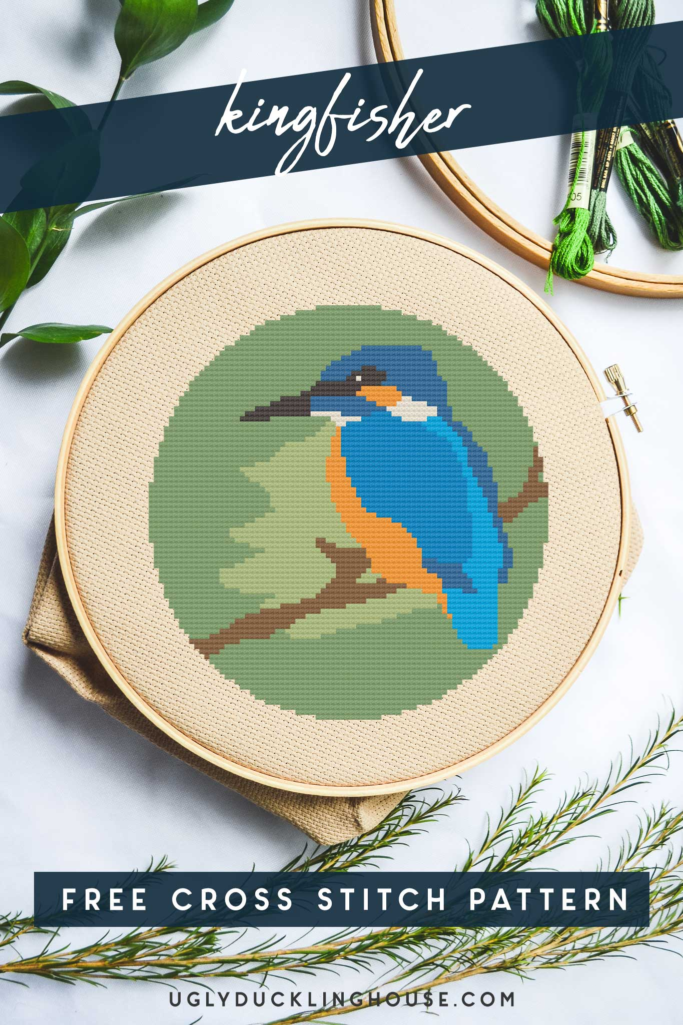 kingfisher bird free cross stitch pattern