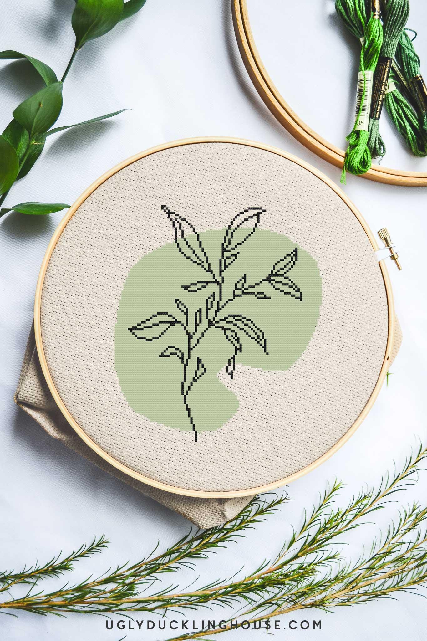 Leaf Line Art | Free Cross Stitch Pattern