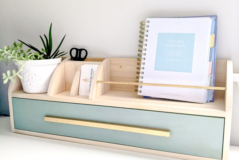 DIY desk organizer with gold accents
