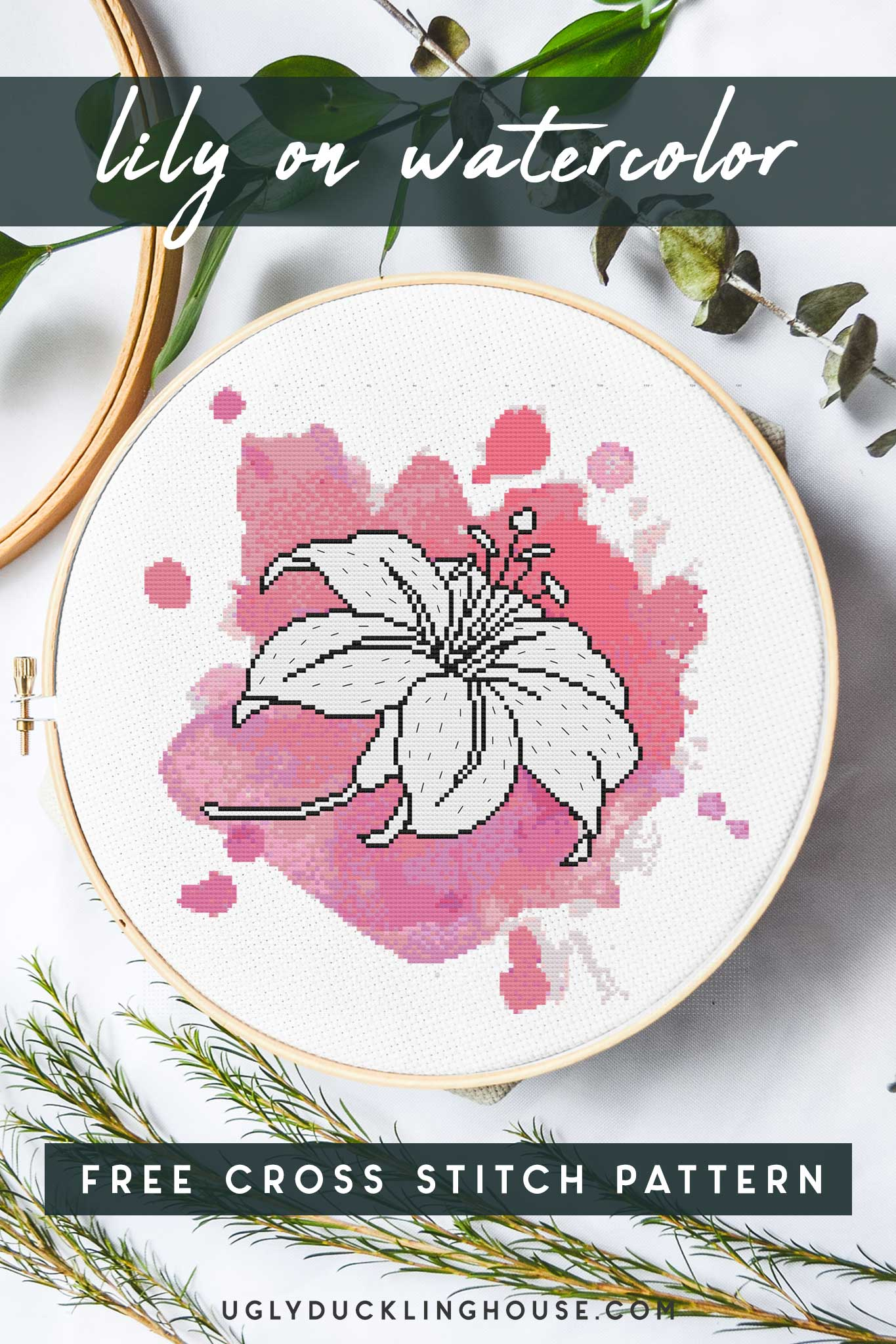 lily on watercolor cross stitch