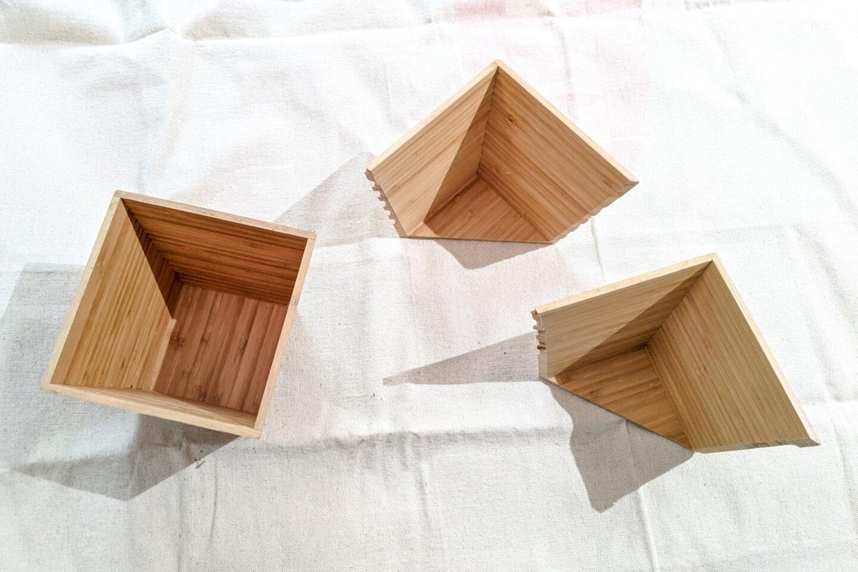 couper les jardinières en deux en diagonale