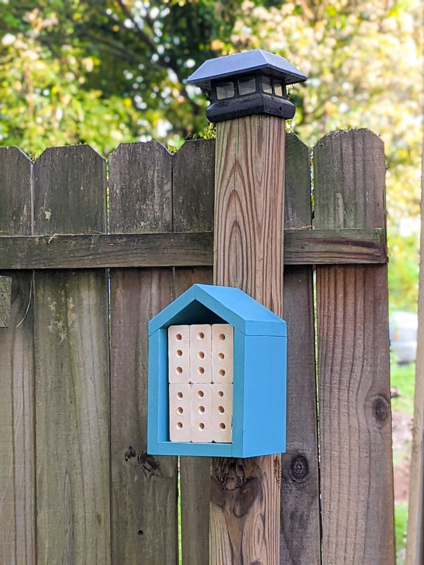 finished blue mason bee house attached to fence