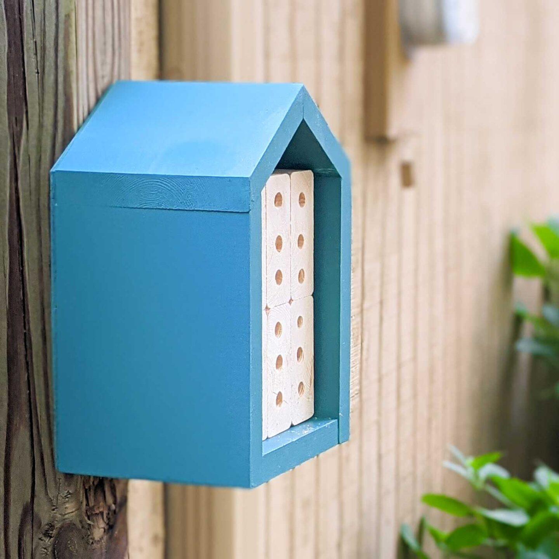 mason bee house spray painted blue
