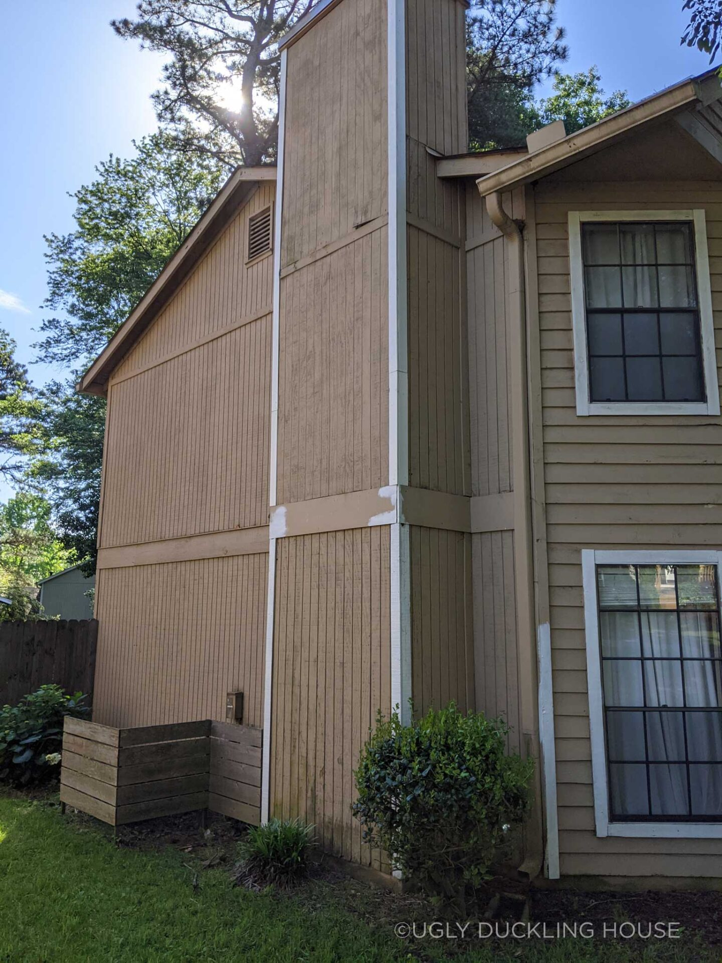 trim work left undone on the side of the house