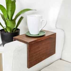 scrap wood sofa armrest tray table DIY