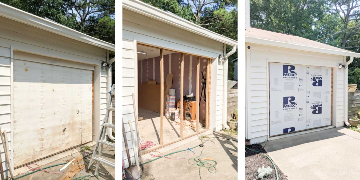 collage of garage door with old insulation, demo down to the frame, and new insulation
